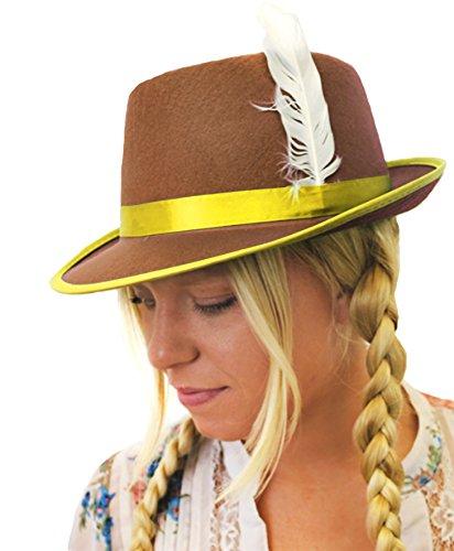 I LOVE FANCY DRESS LTD Un Chapeau Bavarois Marron en Feutre à Bande Jaune avec Une Plume Blanche pour Femme. Ideal pour Les enterrements de Vie de Jeune Fille.