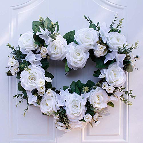 Artificial Wreath,19.7inch Artificial Rose Wreath White Shape Rose Wreath with Green Leaves Spring Front Door Hanging Wreath for Home Spring Wedding Front Door Decor