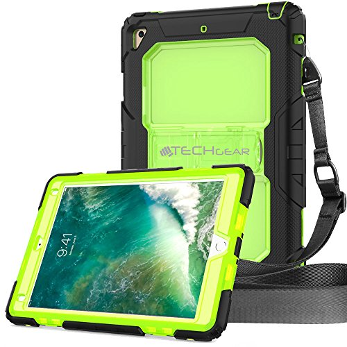 TECHGEAR Vanguard Funda Compatible con iPad 9.7' 2018/2017 - Resistente a Prueba de Choques Carcasa Duro con Soporte Integrado y Correa de Hombro Conectable - Negro/Verde