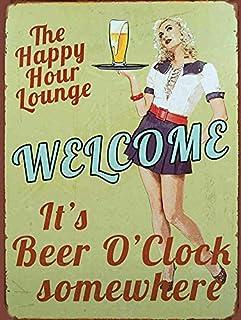 MAIBU Plaque en métal avec inscription « Welcome It's Beer O Clock » - Décoration murale amusante pour bar, maison, pub, g...