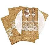 Amajoy 50 piezas de arpillera natural de encaje para utensilios de cuchillos, tenedores, bolsa de cubiertos, bolsa para fiestas, despedidas de soltera de boda vintage