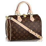 Louis Vuitton Monogram Crosss Body Leather Handles Canvas Handbag Speedy Bandouliere 25 Article: M41113