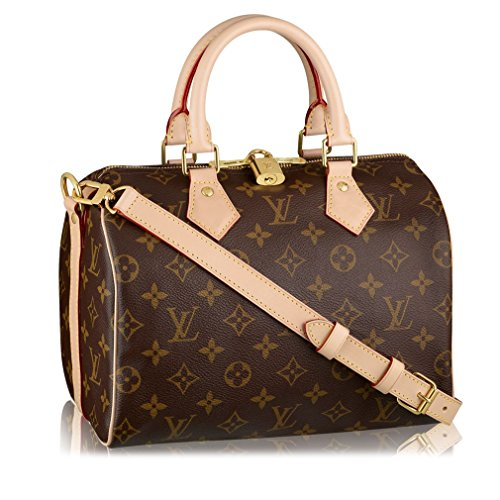 Louis Vuitton Monogram Crosss Body Leather Handles Canvas Handbag Speedy Bandouliere 25 Article: M41113