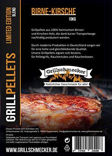 Grillschmecker Grillpellets - Holzpellets für Grill, Pelletofen & Smoker - Sonderedition Birne-Kirsche 10kg