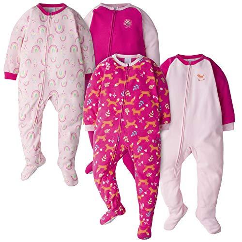 Gerber Baby-Mädchen 4-Pack Blanket Sleeper Schlafanzug, Fuchs/Regenbögen, 5 Jahre
