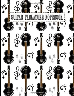 Guitar Tablature Notebook: Design With Guitar And Musical Notes Pattern  Guitar Tablature Book Blank For Guitar Composing Music Notes And Perfect Gifts For Guitar Lovers