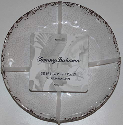 Tommy Bahama Melamine Rustic Crackle Dinnerware Sets - Set of 4 (Rustic Beige, Dessert Plates)