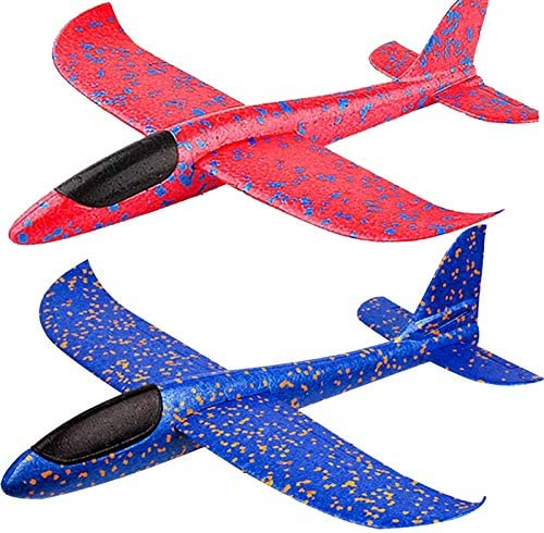 BooTaa 2 Pack Airplane Toys, 17.5″ Large Throwing Foam Plane, 2 Flight Mode Glider, Flying Toy for Kids, Birthday Gifts for 3 4 5 6 7 8 9 10 11 12 Year Old Boys Girls, Outdoor Sport Toys Party Favors