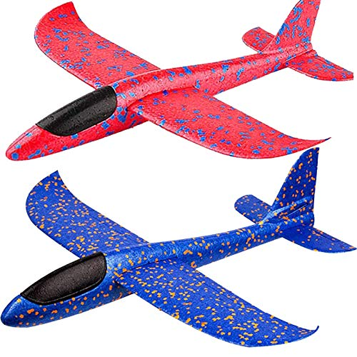 """BooTaa 2 Pack Airplane Toys, 17.5"""" Large Throwing Foam Plane, 2 Flight Mode Glider, Flying Toy for Kids, Birthday Gifts for 3 4 5 6 7 8 9 10 11 12 Year Old Boys Girls, Outdoor Sport Toys Party Favors"""