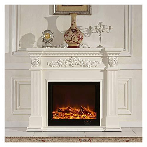 LAA Kamine Elektro, Elektro-Kamin & Premium Mantel - Weiß Elektrokamine Braun Elektro-Kamin Heizung - 3D Flamme Effekte - Safe, 750W-1500W Elektrischer Kamin (Color : White)