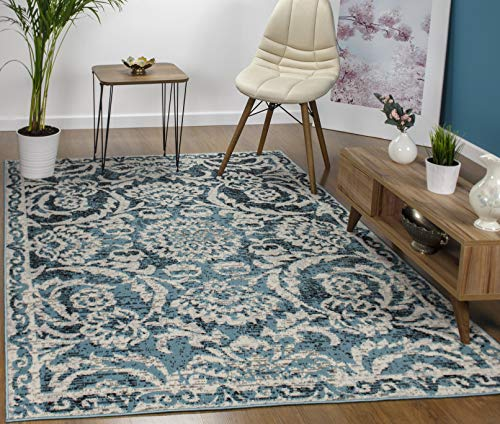 Antep Rugs Kashan King Collection Floral Area Rug Blue and Cream 8' X 10'