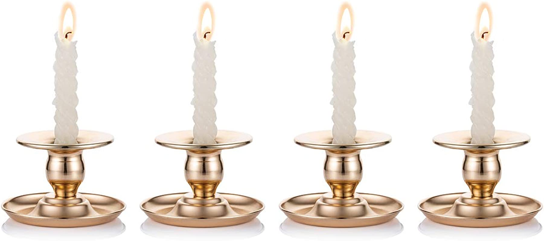 Nuptio 4 Pcs Metal Taper Candle Holders Candlestick Holder Dining Room Centerpieces 2 5 Inches High Ideal Gift For Weddings Party Favor Reki Meditation
