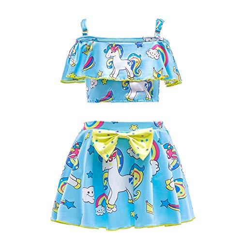 Lito Angels Einhorn Badeanzug Zweiteiler für Kinder Mädchen, Tankini Bademode Schwimmanzug Sommer Strand, Größe 5-6 Jahre 116, Stil A - Blau