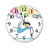 AEMAPE Reloj de Pared Redondo de Bautismo, Signo de Escritura de Primera comunión para niño, Uvas, cáliz, Pan, Vela, alas de pez, Obra de Arte, Reloj con Pilas