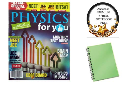 Physics for You English April to July 2020 Issue Exam Special 2020 Magazine With Ahooza Premium Pocket Spiral Notebook