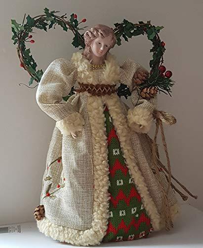 Premier, puntale per albero di Natale a forma di angelo, con motivo del bosco, decorazioni a forma di pigne e bacche, dimensioni di 30 cm