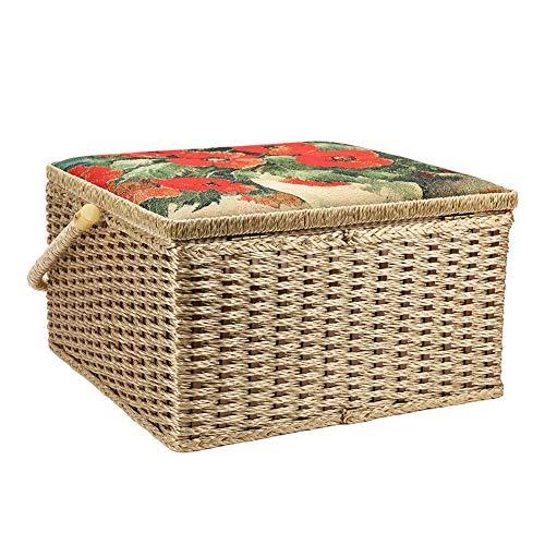 Caja de costura Juego de bordado para el hogar Caja de hilo de agujas para el hogar de ganchillo y uso diario Costura de acolchado