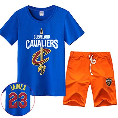 WWSC Basketball Jerseys Cavaliers Retired Gedenk Kurzarm T-Shirt Männer Pullover James # 23 Basketball Sports Set Blue-XXXXXL