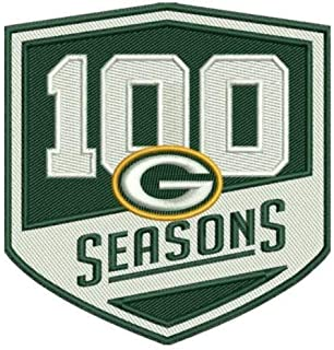 Green Bay Packers 100 Seasons Patch 100th Season Rodgers & Sticker Best Quality 3.75