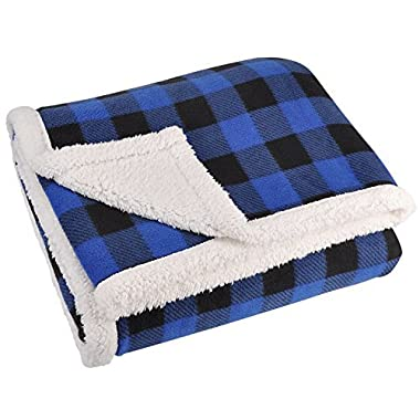Terrania Buffalo Plaid Sherpa Throw TV Blanket 50  x 60  Super Soft Reversible Fleece Blanket for Cabin Bed or Couch | Catalonia series by Cabin Plaid Blue and Black Check