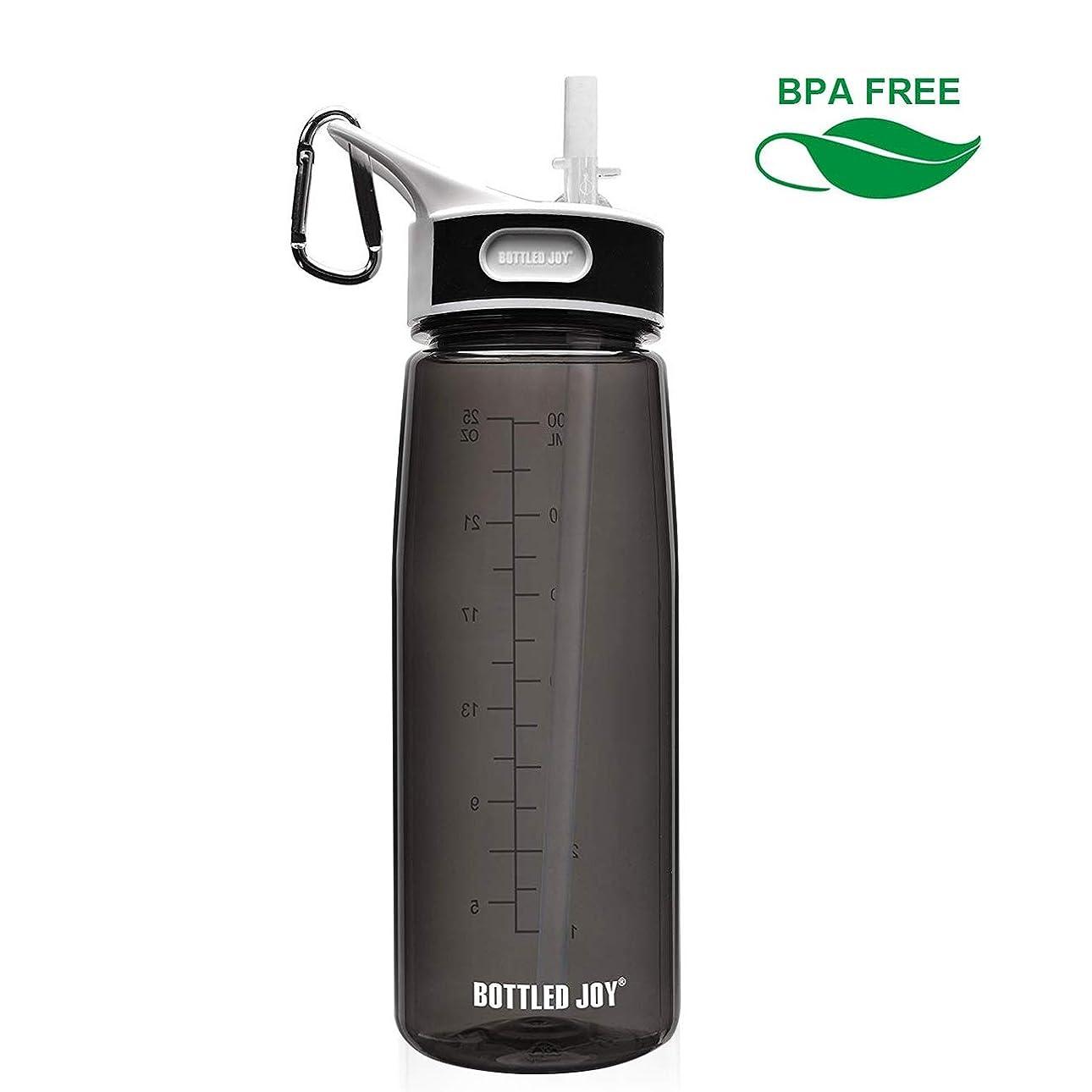 事実上九月何故なのBOTTLED JOYストロー ボトル 水筒 ウォーターボトル800ml BPA FREE スポーツボトル 男女兼用 超軽量 耐冷耐熱 携帯便利 高い密封性 漏れ防止 直飲み 軽量 大人スポーツボトル
