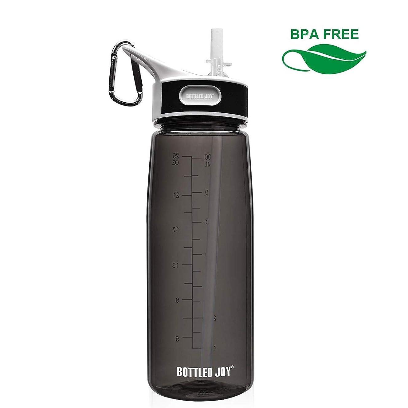 真空ヒューマニスティック種BOTTLED JOYストロー ボトル 水筒 ウォーターボトル800ml BPA FREE スポーツボトル 男女兼用 超軽量 耐冷耐熱 携帯便利 高い密封性 漏れ防止 直飲み 軽量 大人スポーツボトル