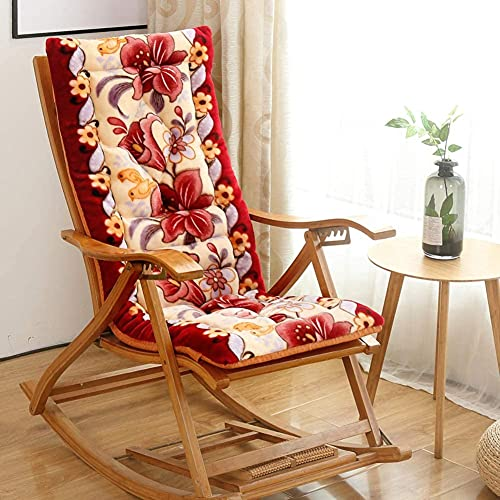 WHZG Chair Pad Thicken Patio Rocking Chair Cushion with Ties,Indoor Outdoor Chaise Lounge Cushion,Floral Seat Mat for Lawn Office Tailbone Back Pain Chair Cushion