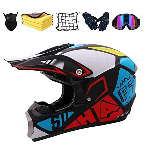XIAOL Motocross Adulto Cross Integral Enduro Infantil Casco Motocross Scooter ATV Casco Road Race D.O.T Certified Hombre Mujer Montaña Bicicleta...