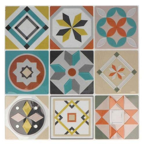 Stickers carreaux de ciment 8 cm - Gris, bleu, vert, orange - 18 carreaux