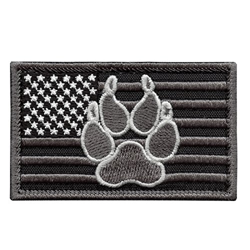 ACU USA American Flag K-9 Police Dog Handler Subdued Morale Tactical Embroidery Fastener Patch