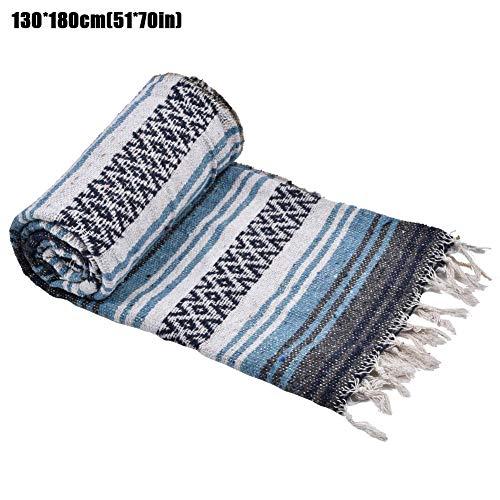 fllyingu Mexikanische Decke Yoga Decke | Handgewebte Authentische Made In Mexico Yoga Serape Decken | Perfekte Stranddecke, Baja-Decke, Campingdecke, Decke Und Überwürfe, Yoga-Kissen, Sitzbezug