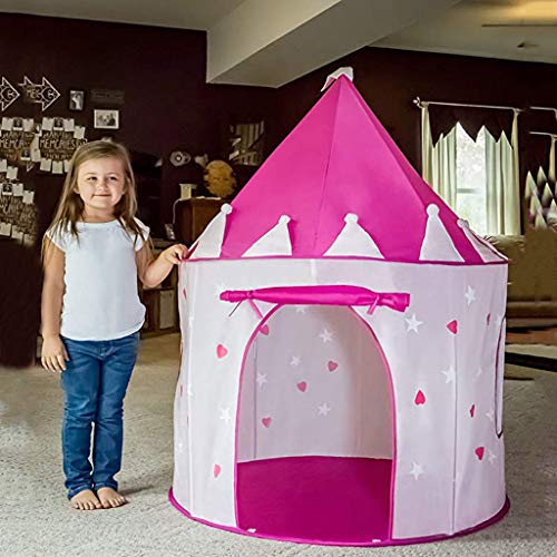 Girls Play Tent Toy with Glow in the Dark Stars Kids Princess Castle Playhouse Birthday Gift for Children Toddlers Indoor and Outdoor Games(Pink)