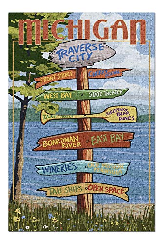 Traverse City, Michigan - Destinations Sign 43308 (19x27 Premium 1000 Piece Jigsaw Puzzle for Adults, Made in USA!)