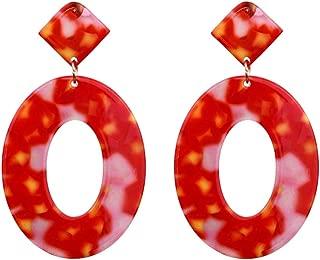 Women Fashion Casual Earrings Creative Acetate Plate Geometry Elliptical Diamond Earrings Women's Jewelry Gifts