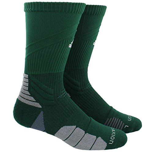 adidas Traxion - Calcetines de fútbol y baloncesto, Unisex Hombre, 104782, Verde oscuro/Blanco, XL