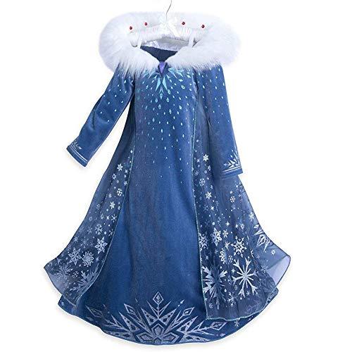 BKSKK Girls Frozen Elsa Costume Cosplay Party Princess Fancy Dress with ur Collar 4Y
