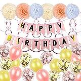 ZSQQSCL Decoraciones Fiesta Cumpleaños,Lindo Globo Bola Flor Set (31 Pcs), Rosa, Rosa De Banner De Cartón Cinta En Espiral, Látex Globo Confeti para Niños, Adulto,Cumpleaños Decora