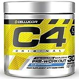 C4 Original - Suplemento en polvo para preentrenamiento - Frambuesa azul | Bebida energética para antes de entrenar | 150mg de cafeína + beta alanina + monohidrato de creatina | 30 raciones