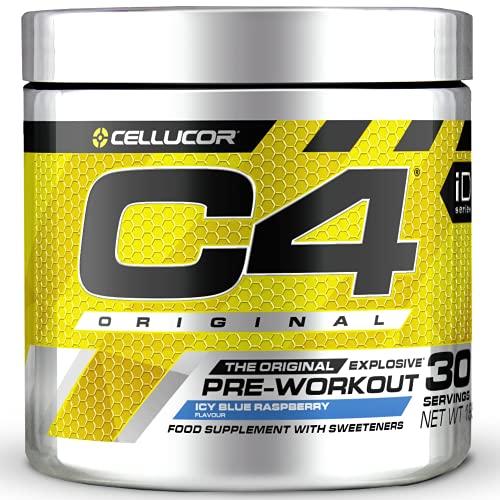 C4 Original - Suplemento en polvo para preentrenamiento - Frambuesa azul   Bebida energética para antes de entrenar   150mg de cafeína + beta alanina + monohidrato de creatina   30 raciones