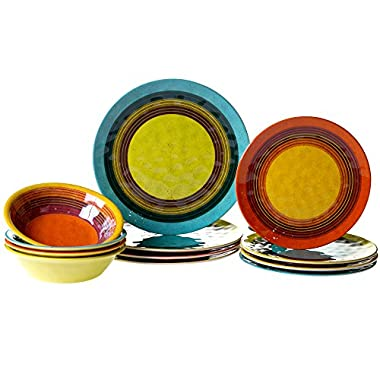 Certified International 12 Piece Sedona Melamine Dinnerware Set, Multicolor