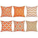 Topfinel Fundas cojín Lona de Almohadas Creativa para el sofá Juego de 6 45x45cm Naranja