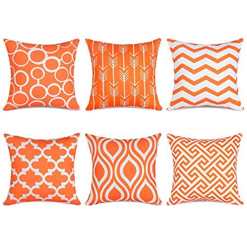 Topfinel 6er Set Kissenbezüge 45x45 cm Qualitäts Kissenhüllen in Segeltuch mit Geometrischen Mustern für Sofa Auto Terrasse Zierkissenbezüge Serie Orange und Weiß