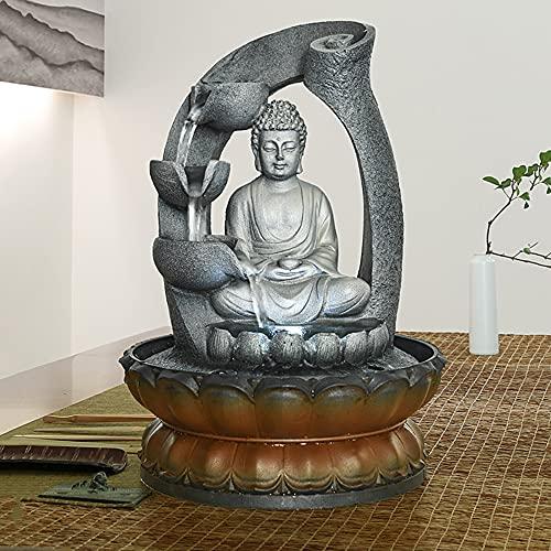 WATURE Buddha-Brunnen – 28cm Buddha Tabletop Wasserbrunnen für Home&Office Dekoration, Meditation Zen-Brunnen mit LED-Licht &Circular Wasserfluss für Viel Glück halten (Grau, 28cm)
