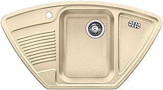 BLANCO Classic 9 E, Eckspüle, Küchenspüle aus Silgranit, Champagner / mit 3 1/2 Korbventil - ohne Ablauffernbedienung 521342
