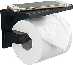 BVL Zwarte Wc Toiletpapierhouder, 304 Roestvrij Staal Toiletrolhouder met Legplank, Muurgemonteerde Toiletpapier Houder vo...