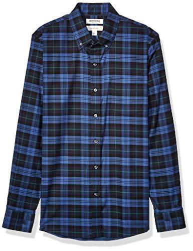Goodthreads Slim-Fit Long-Sleeve Stretch Oxford (All Hours) button-down-shirts, Denim Navy Tartan, Medium