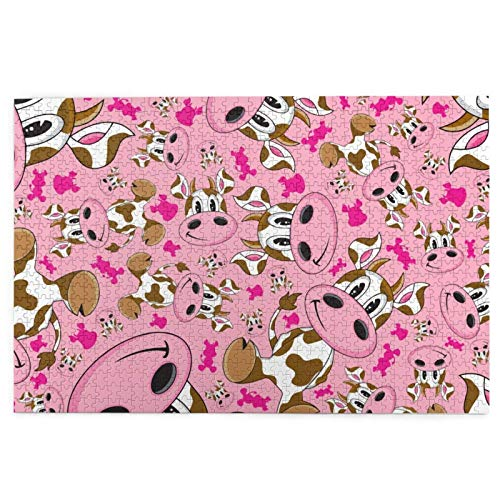 1000 Pieces Jigsaw Puzzle Cartoon Pink Cow Pictures Puzzle for Adults Teens Large Wooden Puzzle Game Artwork for Home Wall Decoration Photo Frame Box Kids DIY Floor Puzzles