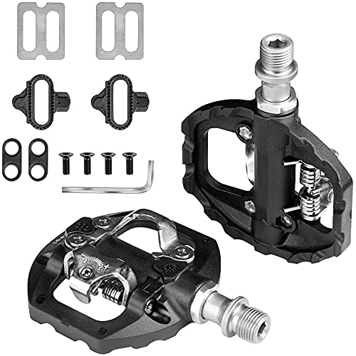 Bike Pedals Cleat Set, Bicycle Dual Platform Pedals Compatible with Shimano SPD Mountain Clipless Pedals, for Indoor Exercise Bike Spin Bike And All Bikes With 9/16' Axles