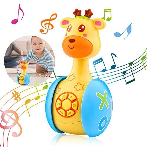 Jirafa De Dibujos Animados Juguete,Juguetes Musicales para Niños,Juguetes de Vaso de Jirafa,Juguete Tentetieso de Animados,Roly Poly Toy,Juquete de Tentetieso,Juguetes para Bebés (A)