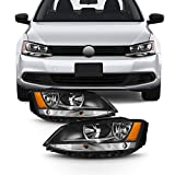 Saturn Vue Air Filter Boxes & Components - For Black Bezel 11-18 VW Jetta Headlights Front Lamps Direct Replacement Left + Right Pair